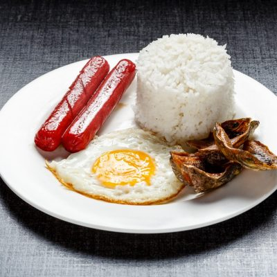 Hotdog and Dangit with rice and egg