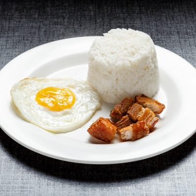 Kawali with rice and egg